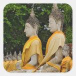 Fila de las estatuas de Buda, Chaya Mongkol de Wat Calcomanía Cuadradas Personalizadas