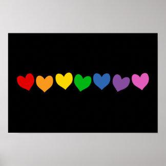 Fila de los corazones del arco iris impresiones