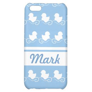 fila de los patos blancos en mota azul del iPhone
