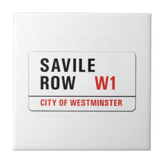 Fila de Savile, placa de calle de Londres Azulejo Cuadrado Pequeño