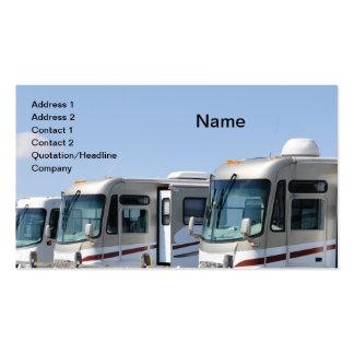 fila de vehículos recreativos tarjeta de visita