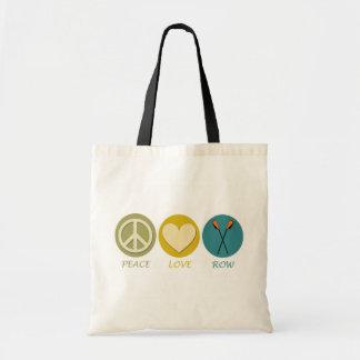 Fila del amor de la paz bolsa tela barata