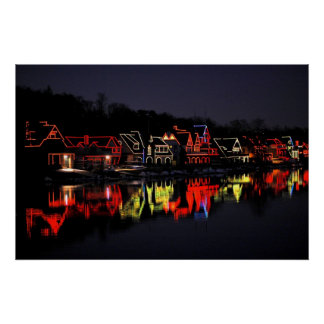 Fila del Boathouse de Philadelphia en el navidad Impresiones
