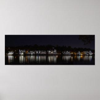 Fila del Boathouse por la noche… Philadelphia PA Posters