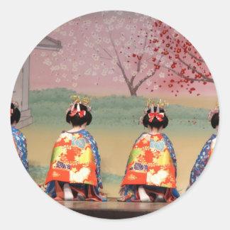 Fila del geisha pegatina redonda