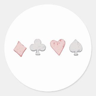 Fila del juego del naipe pegatina redonda