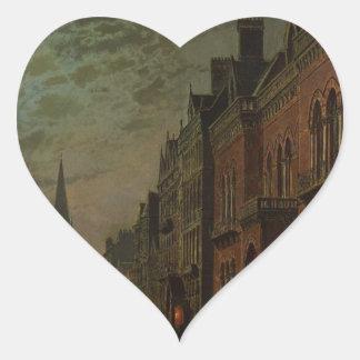 Fila del parque, Leeds de Juan Atkinson Grimshaw Pegatina En Forma De Corazón
