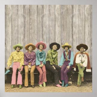 Fila del poster occidental de las vaqueras del vin