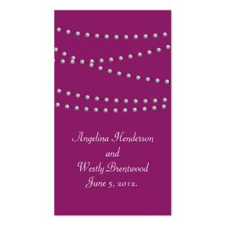 Filamentos de perlas en tarjeta magenta del Web Tarjetas De Visita