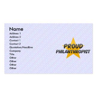 Filántropo orgulloso tarjetas de visita