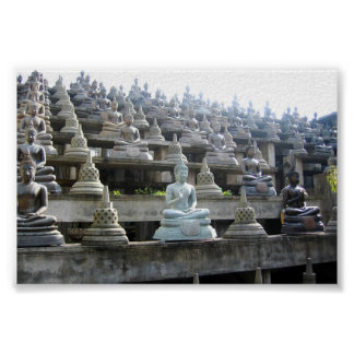 Filas de Buddhas y de stulpas srilanqueses Poster