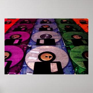 Filas de discos blandos póster