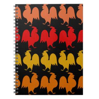 Filas de gallos libro de apuntes con espiral