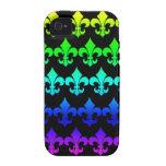 Filas de la flor de lis en colores del arco iris vibe iPhone 4 funda