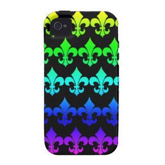 Filas de la flor de lis en colores del arco iris iPhone 4/4S fundas