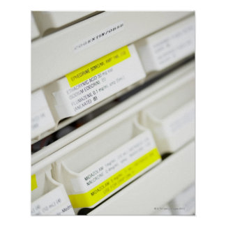 Filas de los cajones etiquetados de la medicina póster