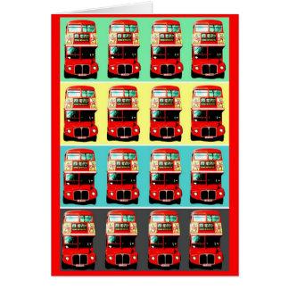 Filas retras del autobús 4 de Londres Tarjeta De Felicitación