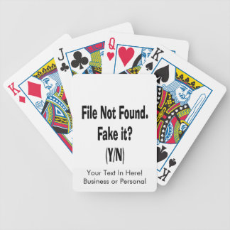 file not found black text funny computer design bicycle card decks