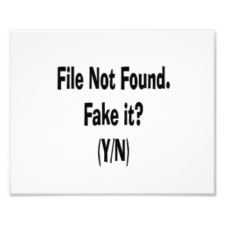 file not found black text funny computer design photo print