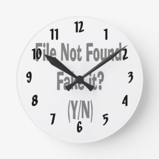 file not found black text funny computer design round clock