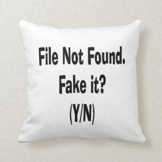 file not found black text funny computer design throw pillow