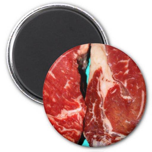 Filete de Nueva York crudo Imán Redondo 5 Cm