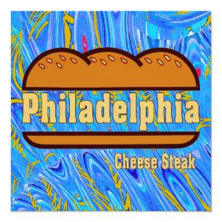"""Filete del queso de Philadelphia Invitación 5.25"""" X 5.25"""""""