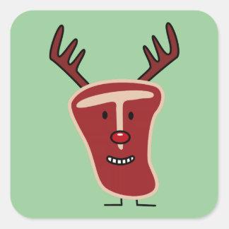 Filete del T-Hueso del reno del navidad Pegatina Cuadrada