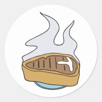 filete del t-hueso pegatina redonda