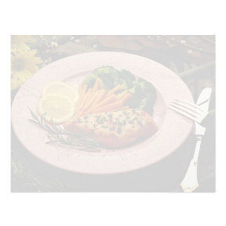Filete delicioso del halibut con las zanahorias, l membretes personalizados