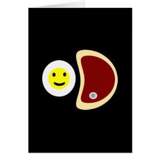 Filete y huevos tarjeta de felicitación