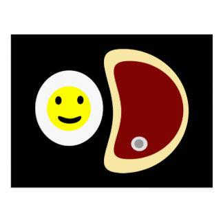 Filete y huevos tarjeta postal
