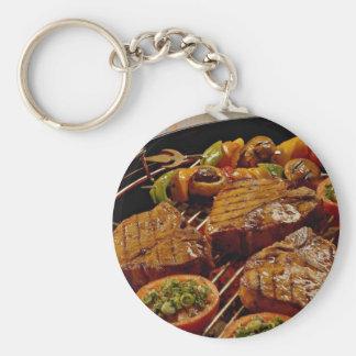 Filetes asados a la parrilla deliciosos del T-hues Llaveros Personalizados
