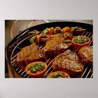 Filetes asados a la parrilla deliciosos del T-hues Impresiones