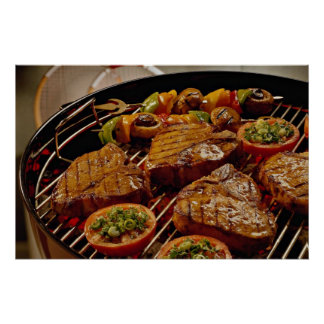 Filetes asados a la parrilla deliciosos del T-hues Póster