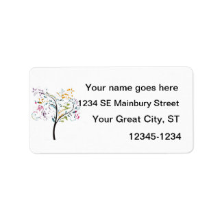 Filigaree swirly colorful tree address label