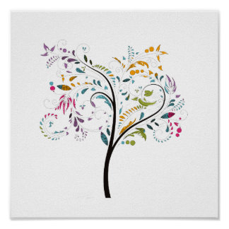 Filigaree swirly colorful tree poster