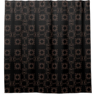 Filigree Black And Tan Shower Curtain