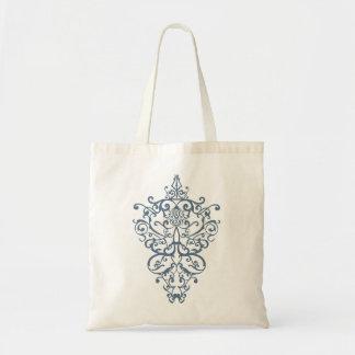 filigree  blue tote bag