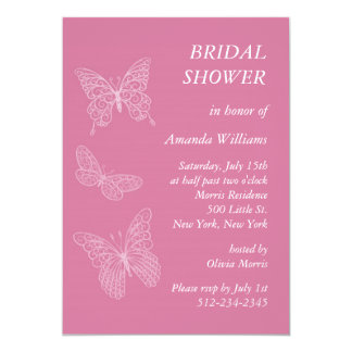 Filigree Butterfly Bridal Shower (pink) Announcement