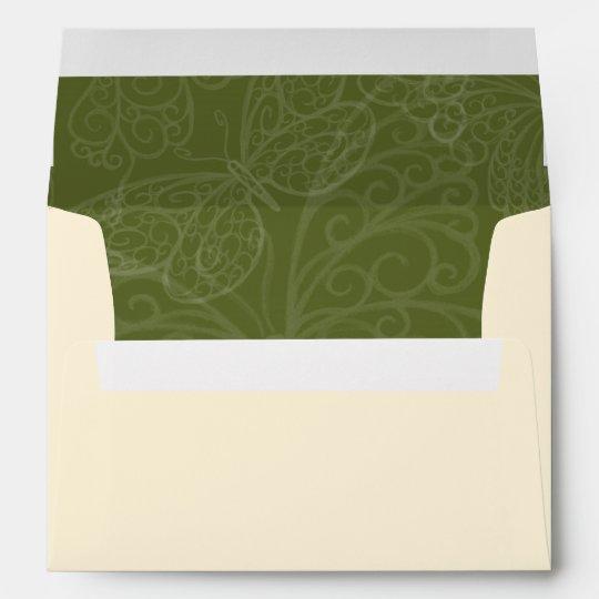 Filigree Butterfly Envelope in Olive Green