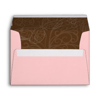 Filigree Butterfly Envelope in Pink and Brown