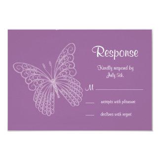 Filigree Butterfly RSVP in Purple Card