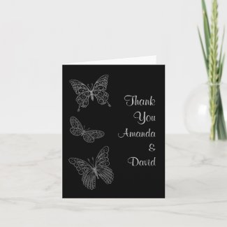 Filigree Butterfly Thank You Card card