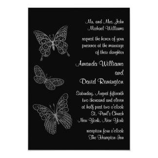 Filigree Butterfly Wedding Invitation in Black
