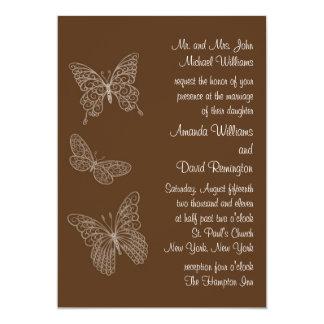 Filigree Butterfly Wedding Invitation in Brown