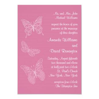Filigree Butterfly Wedding Invitation in Pink