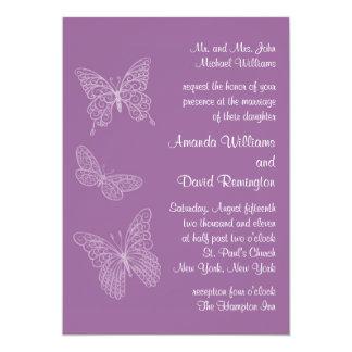 Filigree Butterfly Wedding Invitation in Purple