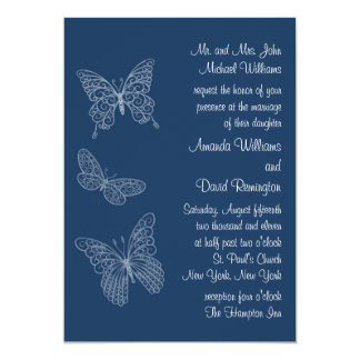 Filigree Butterfly Wedding Invitation in Teal
