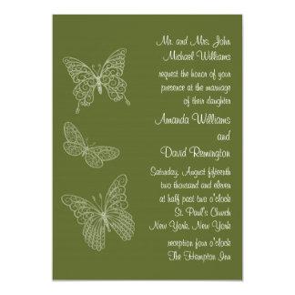 Filigree Butterfly Wedding Invitation Olive Green